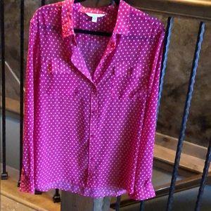 American Eagle Pink  Polkadot blouse